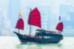abstrakt defokussiertes Segelschiff in Hongkong foto