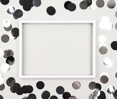 leerer weißer Rahmen mit silbernen Tupfen foto