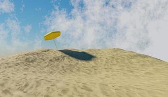 gelber Regenschirm über einem Berg des Strandsandes und eines Himmels mit Wolken, 3d Illustration foto