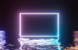 Neonfarbener Lichtrahmen auf reflektiertem Wasser, 3D-Rendering foto