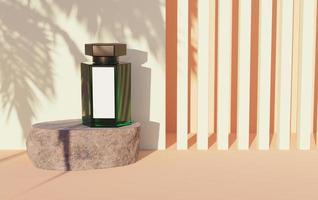 Modell des grünen Glasboots mit weißem Etikett auf einem Felsen und abstraktem Hintergrund der linearen Formen und des Palmenschattens, 3D-Darstellung foto