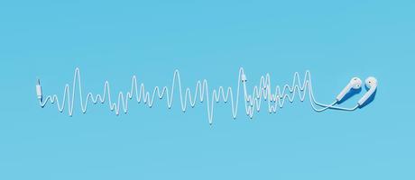 Kopfhörer mit Kabel machen eine Schallwelle auf einem blauen Hintergrund, 3D-Rendering foto
