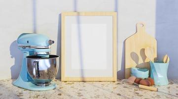 Modell eines Rahmens mit Küchenzubehör an den Seiten und einem großen blauen Mixer, 3D-Rendering foto