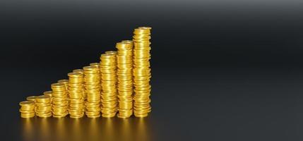 steigender Berg von Goldmünzen auf schwarzem Hintergrund, 3D-Rendering foto