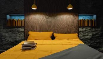 Innenraum eines Schlafzimmers mit einem hölzernen Kopfteil foto