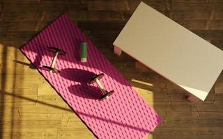 kleines improvisiertes Fitnessstudio im Wohnzimmer eines Hauses