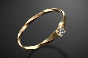 Golddiamantring lokalisiert auf schwarzem Hintergrund, 3D-Rendering foto