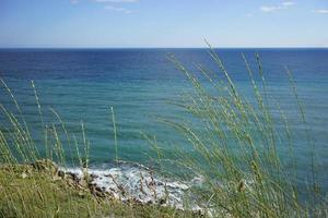 Gras und Feld mit Blick auf einen Strand neben einem Gewässer mit bewölktem blauem Himmel foto