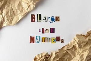 Schwarzes Leben Materie Konzept Protestzeichen foto