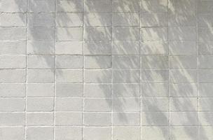 Kopieren Sie die Vorderansicht der weißen Backsteinmauer mit Baumschatten foto