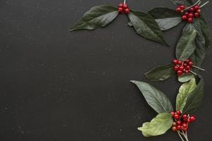 grüne Flugblätter mit Beerenhintergrundgrenze foto