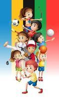Plakat von Kindern, die verschiedene Sportarten ausüben foto
