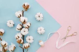Anordnung mit Baumwollblumen und Schere foto