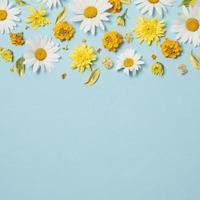 Zusammensetzung der schönen leuchtend gelben Blumen auf blauem Hintergrund foto