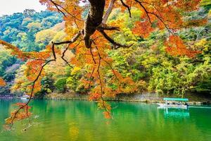 schöner arashiyama Fluss mit Ahornblattbaum foto
