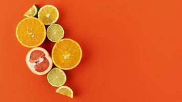 Flache Zusammensetzung von Zitrusfrüchten foto