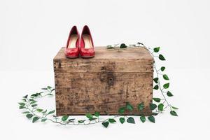 rote Schuhe mit Box auf weißem Hintergrund foto