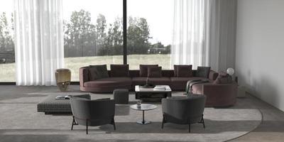 modernes minimales Wohnzimmer mit Pflanzen foto