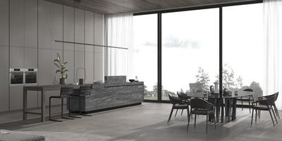 Esszimmer und Küche mit hellen Fenstern foto
