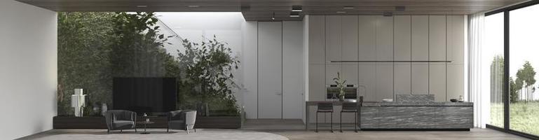 minimaler luxuriöser Panoramablick auf die Innenausstattung foto