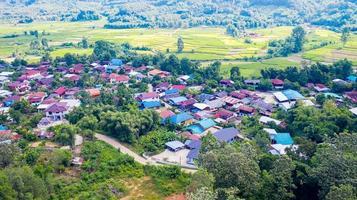 Luftaufnahme des ländlichen Dorfes und des grünen Reisfeldes foto