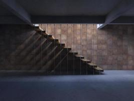 3D-Renderingbild der Treppe mit Schatten an der Wand foto