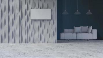 3D-Renderingbild der gekrümmten Wand und des Sofasatzes foto