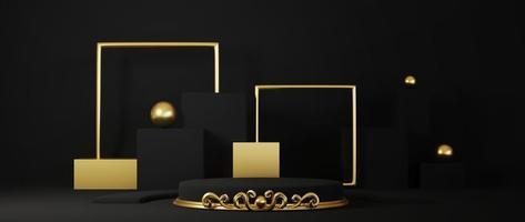 Sockel lokalisiert auf schwarzem Hintergrund mit Goldrahmen foto