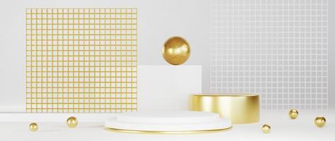 minimales luxuriöses weißes Design mit goldenem Podium foto