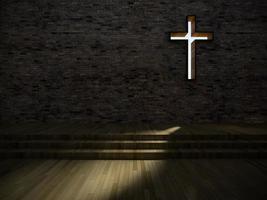 Interieur der modernen Kirche 3d foto