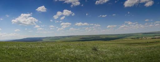 Panorama der Steppenlandschaft mit Gras foto