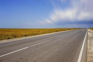 eine lange Autobahn ohne Autos auf dem bewachsenen Gras foto