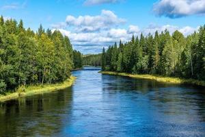 Das Flusserz in Schweden fließt durch einen grünen Wald foto