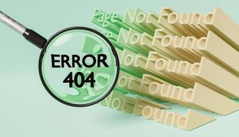 3D-Seite nicht gefunden Zeichen und Lupe zeigt Fehler 404 foto