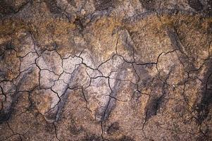 Textur von trockenem gebrochenem Boden mit Traktorradspuren foto