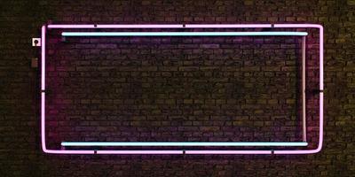leerer Rahmen der rosa und blauen realistischen Neonlampe auf Backsteinmauer foto