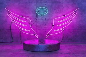 Engelsförmige Neonlampe mit Sockel für die Produktanzeige foto