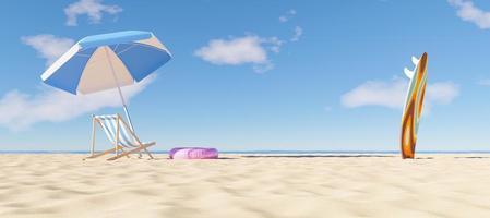 Sonnenschirm mit Hängematte und Surfbrett am Strand, 3d rendern foto