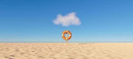 Rettungsring allein am Strand, 3D-Render foto