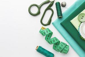 Draufsicht Stoffe mit Maßbandfaden. schöne Qualität und Auflösung schönes Fotokonzept foto