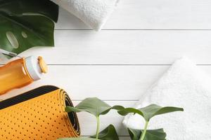 Draufsicht Yoga-Ausrüstung Anordnung. schöne Qualität und Auflösung schönes Fotokonzept foto
