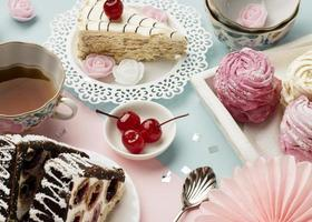 Kuchen und Cupcakes Hintergrund foto