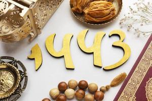 islamische Neujahrsdekoration flach lag foto