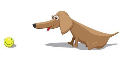 Karikaturhund mit Tennisball lokalisiert auf weißem Hintergrund foto