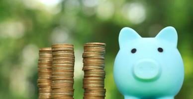 Sparschwein und Münzen mit natürlichem unscharfem Hintergrund foto