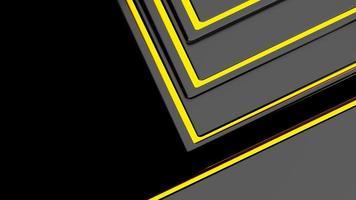 3D-Wiedergabe von abstrakten schwarzen und goldenen Linien mit glänzenden goldenen Schatten foto