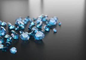Gruppe von blauen Diamant-Saphir platziert auf glänzendem Hintergrund Hauptobjekt Fokus 3D-Rendering foto