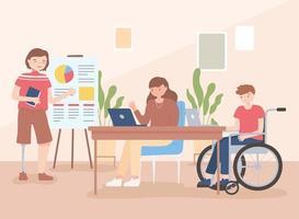 ungültiger Mann im Rollstuhl und Mann mit Beinprothese Büroarbeit weibliche Angestellte foto