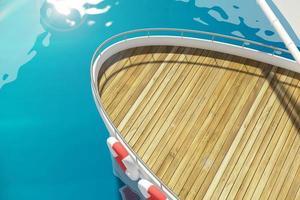 Deck der Yacht am Pier foto