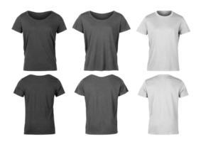 Satz Frau T-Shirt lokalisiert auf weißem Hintergrund mit Beschneidungspfad foto